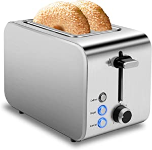 Toaster 2 Slice Toasters Best Rated Prime 1.5in Wide Slot Toaster Stainless Steel Toasters 7 Shade Settings with Removable Crumb Tray for Bread, Waffles, Small Retro Evenly Quickly Toaster