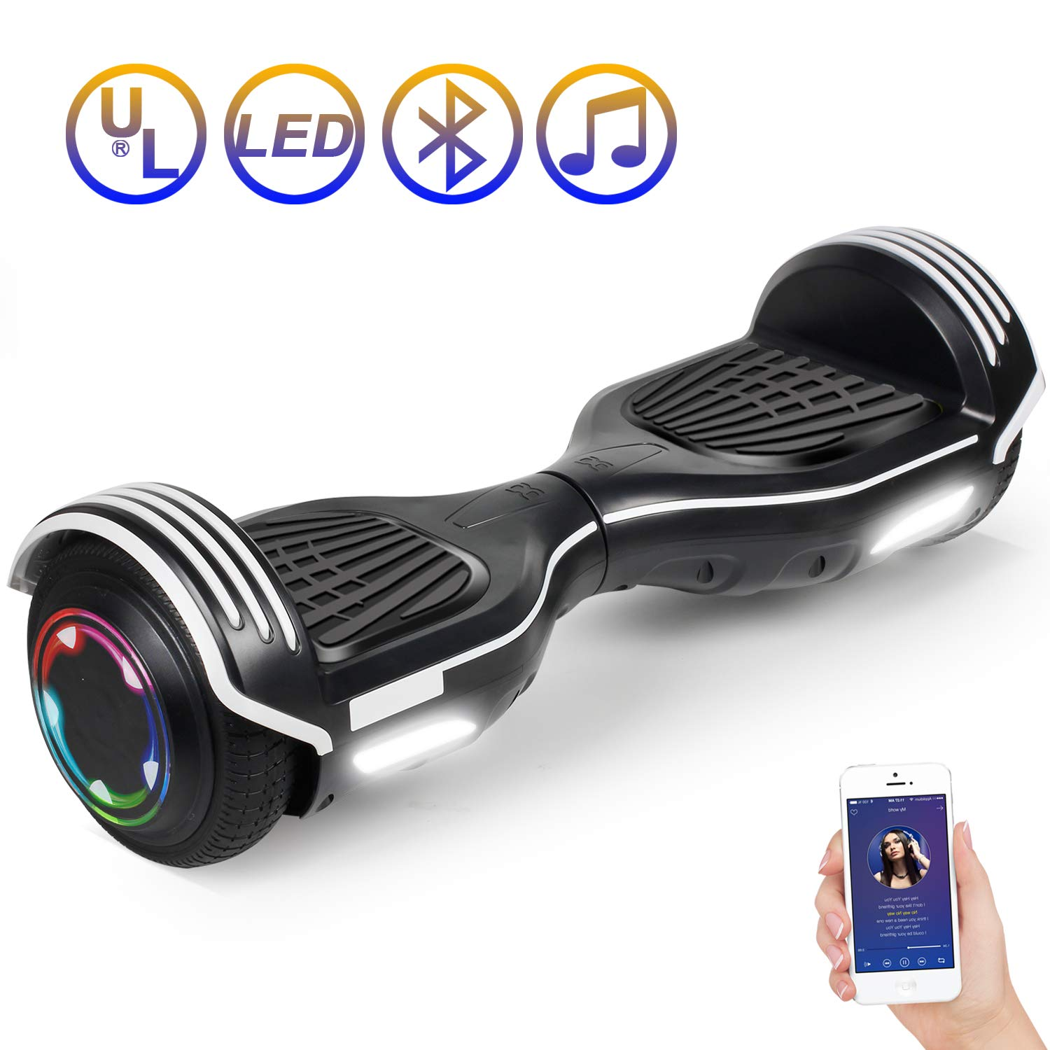 SISIGAD Hoverboard Self Balancing Scooter 6.5'' Two-Wheel Self Balancing Hoverboard with Bluetooth Speaker Electric Scooter for Adult Kids Gift UL 2272 Certified 138A Series - Black