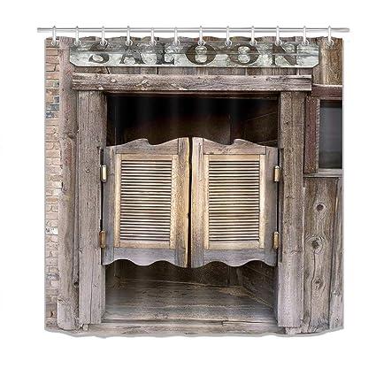 LB Wood Door Shower Curtain3D Old Western Theme Swinging Saloon Doors Print Farm