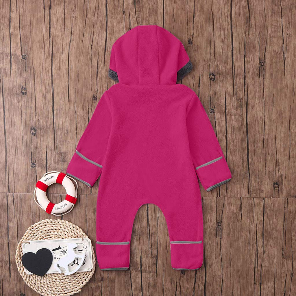 iNoDoZ Infant Baby Girls Boys Solid Cartoon Ears Hoodie Romper Clothes Fleece Jumpsuit
