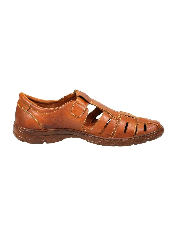 Lukpol Sandalias Hombres Cuero Bú falo Genuino Calzado Zapatos Ortopé dicos Có modos Anti-Choque Modelo-1062