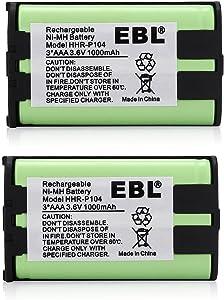 EBL HHR-P104, HHR-P104A, KX-TGA520M,KX-FG6550, KX-FPG391,KX-TG2388B KX-TG2396 KX-TG2300 Phone Replacement Battery, 2 Packs