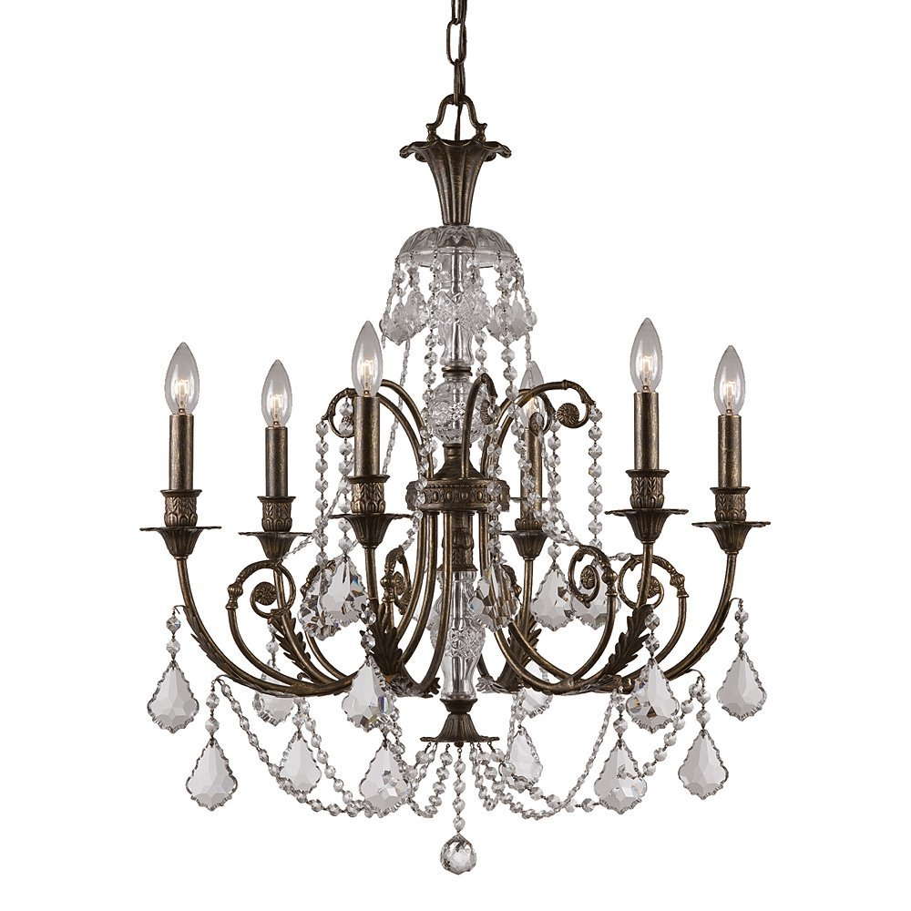 Crystorama 5116 Eb Cl Mwp Crystal Accents Six Light Chandeliers From Regis Collection In Bronze Darkfinish Ceiling Pendant Fixtures Com
