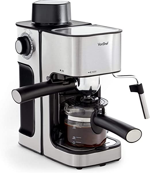 Vonshef Espresso Machine 4 Bar Pressure Pump Barista Coffee Maker With Temperature Gauge Removable Drip Tray And Milk Frother For Latte