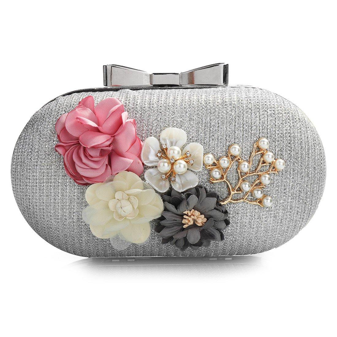 Flower Clutch Purses, Women Stylish Leather Pearl Rhinestone Evening Bag Floral Prom Bride Wedding Handbag (Silver)