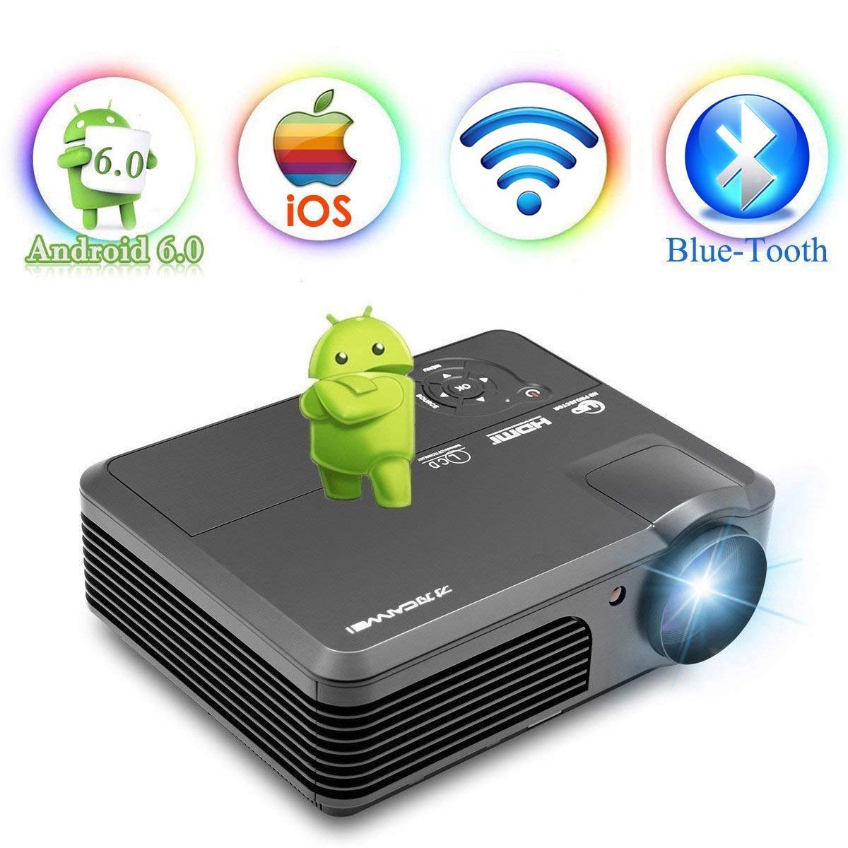 Android 6.0 WiFi Bluetooth Projector 3600 Lumens LCD LED Projector 1080p Full HD, Multimedia Home Theater Video Projector Speakers HDMI Cable Remote ...