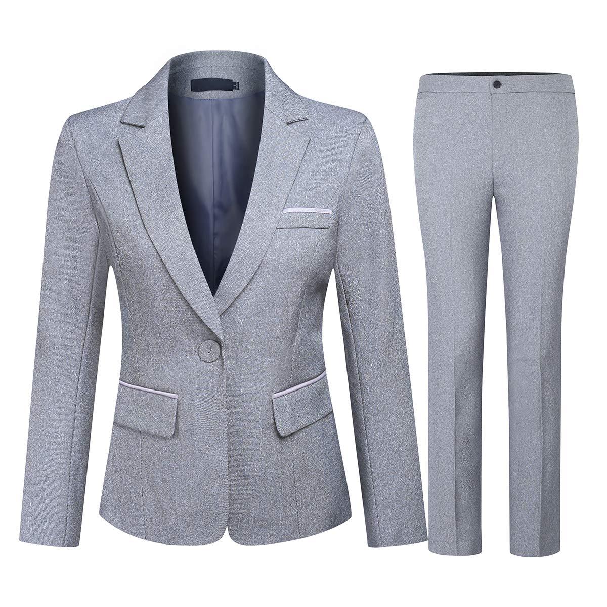 Women's 2 Piece Office Lady Business Suit Set Slim Fit Blazer Pant (Suit Set-Grey1, L)