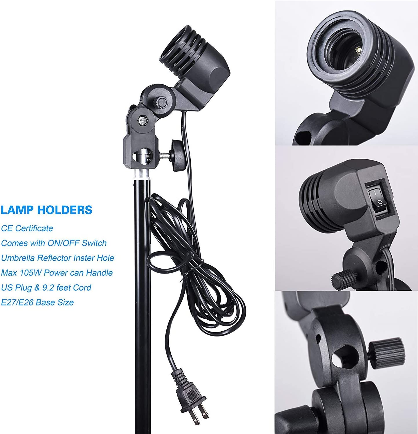 MULJOY 600W Photography Photo Video Portrait Studio Day Light Umbrella Continuous Lighting Kit