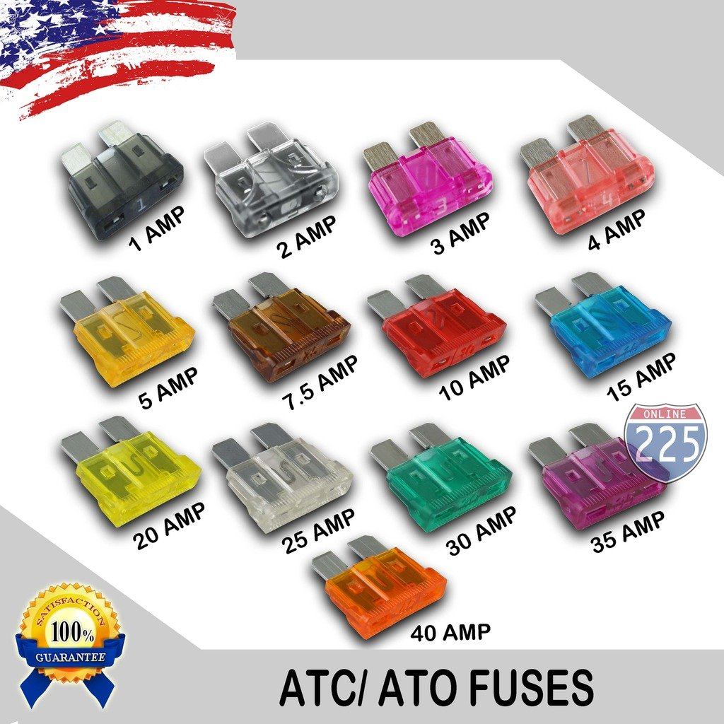 100 Pack 20 AMP ATC/ATO Standard Regular Fuse Blade 20A Car Truck Boat Marine RV