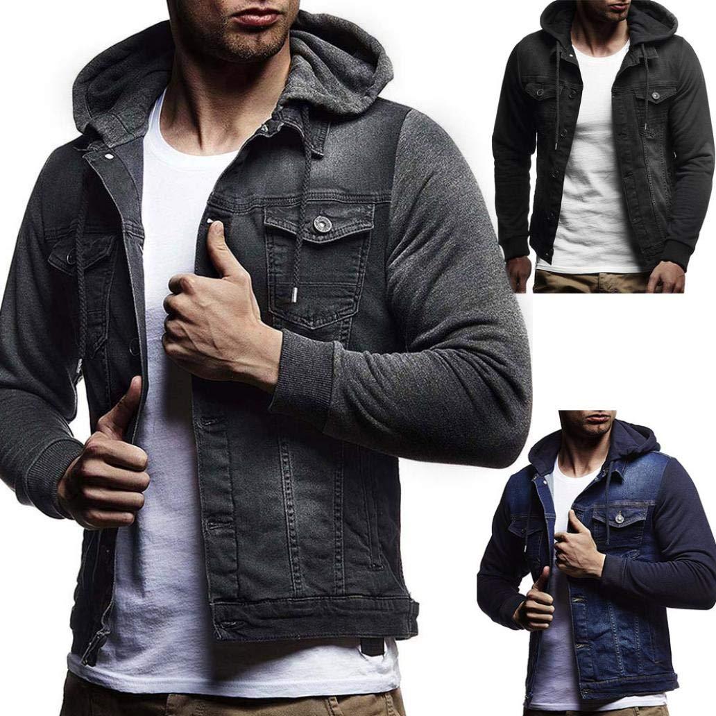 803136c61 aliveGOT Men's Hooded Denim Button Down Jacket Fake Two Pieces Jeans Coats  Outwear - Denim Fit