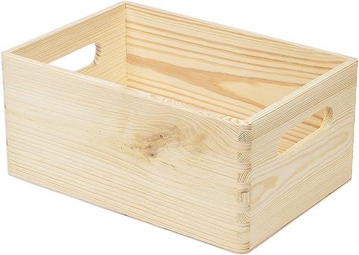 8,2 L Caja de madera caja de madera madera caja apilable Caja asas ...