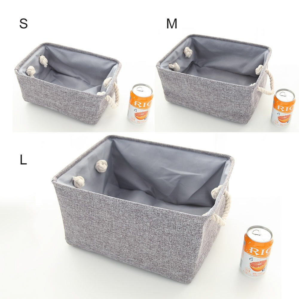 UPHAN pliable Tissu Organiseur de rangement Lot de 3 gris 41,1/x 32/x 21,1/cm Grand panier pour Kid Jouets et v/êtements 1L+2M beige