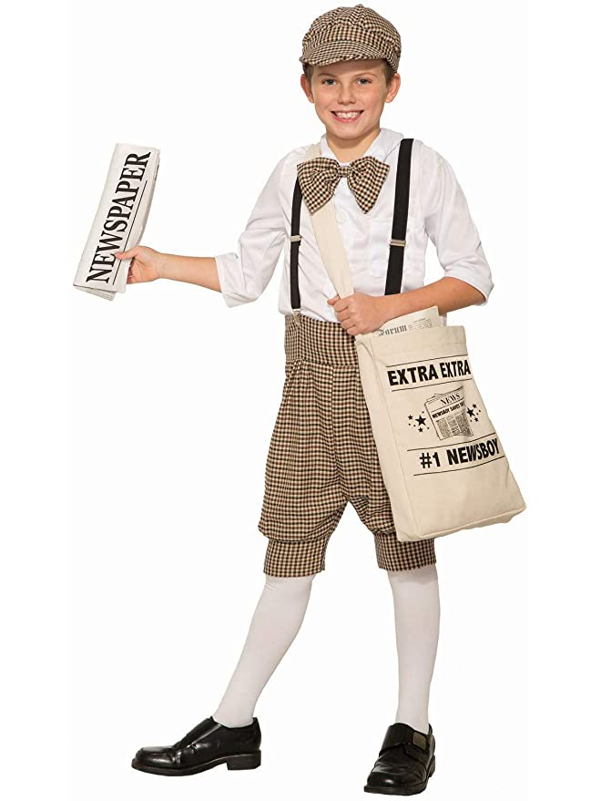 Victorian Kids Costumes & Shoes- Girls, Boys, Baby, Toddler Gatsby 1920s Newsboy Newsie Boys Child Costume Newspaper Carrier Size 2-6  AT vintagedancer.com