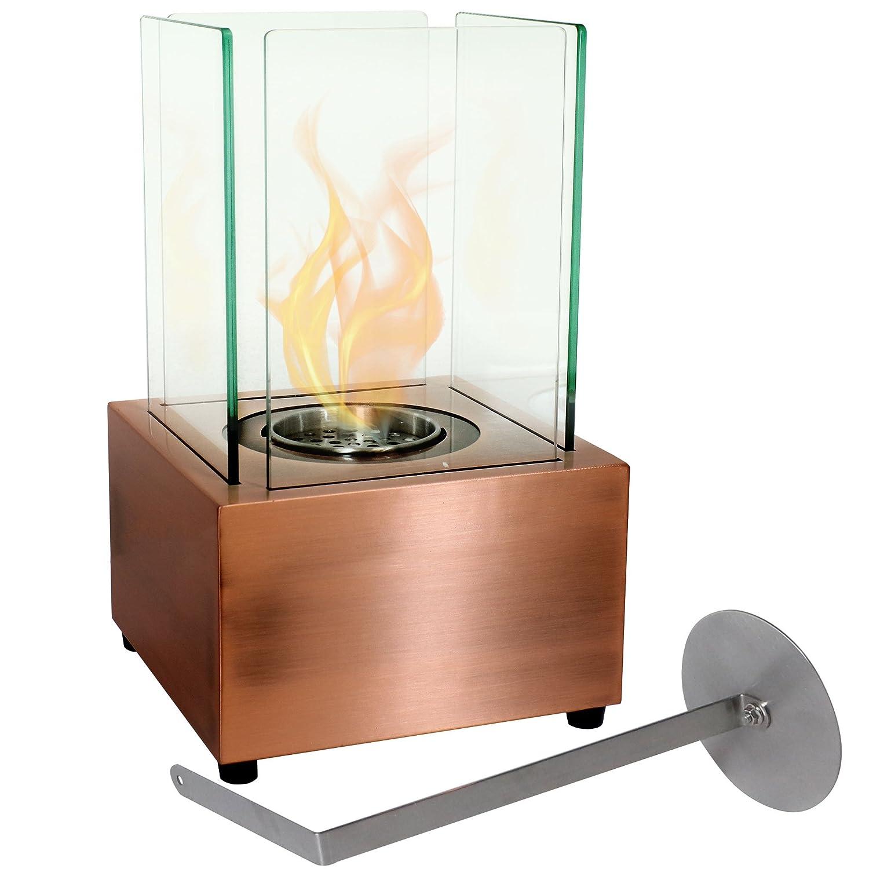Sunnydaze Cubic Tabletop Fireplace, Indoor Ventless Bio Ethanol Fire Pit,  Long Lasting Burn Time, Copper