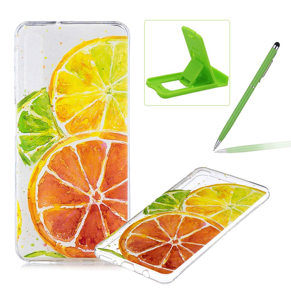 Rubber Case for Samsung Galaxy A7 2018,Herzzer Premium Stylish [Lemon Slice Printed] Scratch Resistant Ultra Thin Soft Gel Silicone Transparent Clear Crystal Slim Fit TPU Back Cover