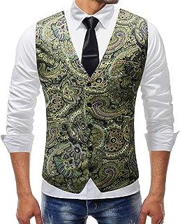 pujingge-CA Men's Paisley Suit Vest Luxury Floral Wedding Waistcoat Tuxedo Vest
