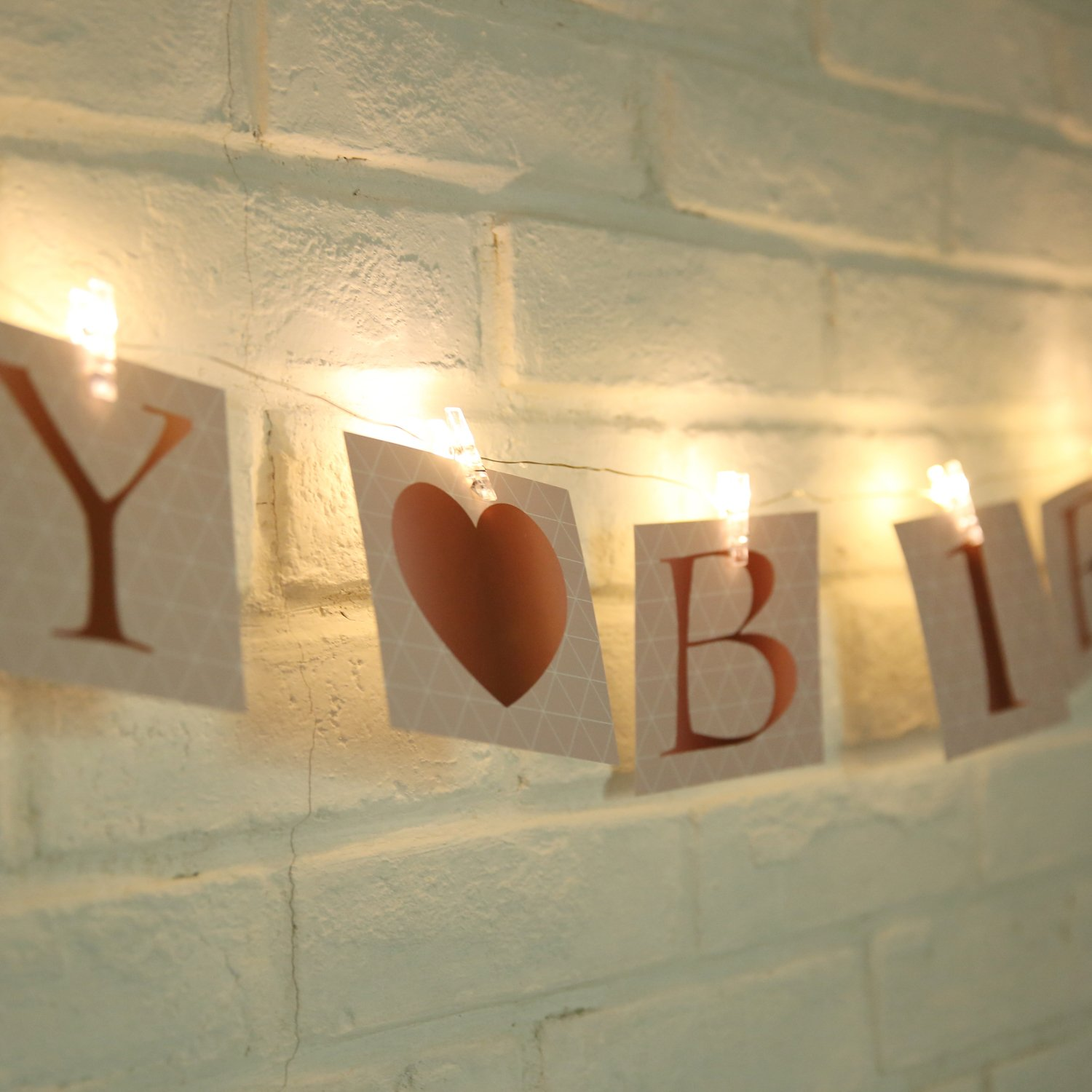 Aike Photo Clips String White Led Lighted Wedding Brithday Bedroom Garden Home Decor Indoor Out Door 15 Led Clear Clips 13 Foot 60 Letters in 4X4 inch Banners to Hang