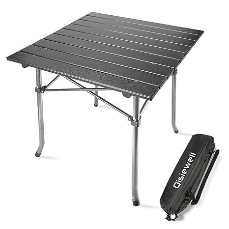 Qisiewell Mesa de Camping Mesa de Playa Plegable de Aluminio al Aire Libre Mesa de Picnic portátil compacta y Ligera para Interiores y Exteriores ...