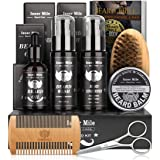 Beard Growth Kit, Beard Grooming Care Kit for Men with Beard Oil,Beard Shampoo Wash, Conditioner, Beard Balm, Beard Comb, Bea