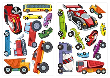 dekodino Wandtattoo Kinderzimmer Wandsticker Set Farbige Autos ...