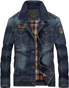 デニムジャケット メンズレトロなチェック柄の裏地コットンカジュアル長袖 ウォッシュドレギュラーフィット刺繡コートデニムジャケット