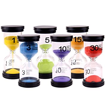 Amazon.com: Gosear Hourglasses, Sand Timer 6pcs Hourglass Sand Clock Timer Sandglass 1 3 5 10 15 30mins for Classroom Game Home Office Decoration Random ...