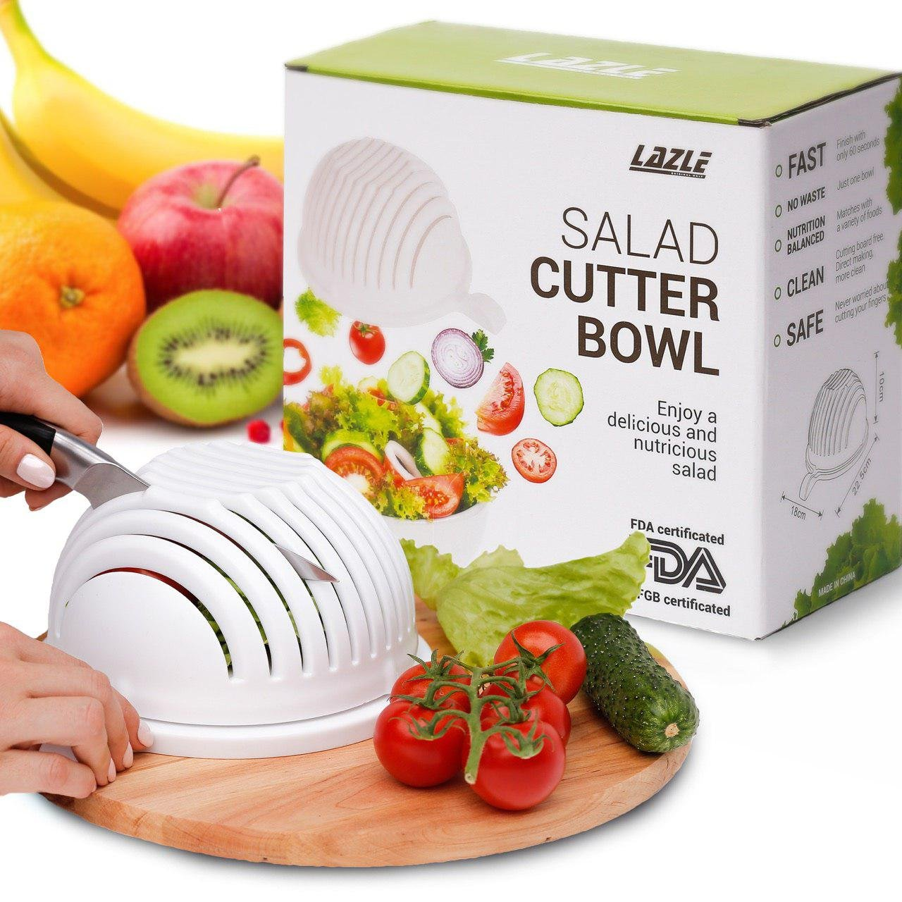 Amazon.com | Lazle Salad Cutter Bowl: Superior Manufacture Vegetable ...
