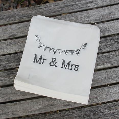 Blanco bolsas de papel para Diseño de Novios bolsa x 90 - para regalo de boda/de caramelos de/para regalos