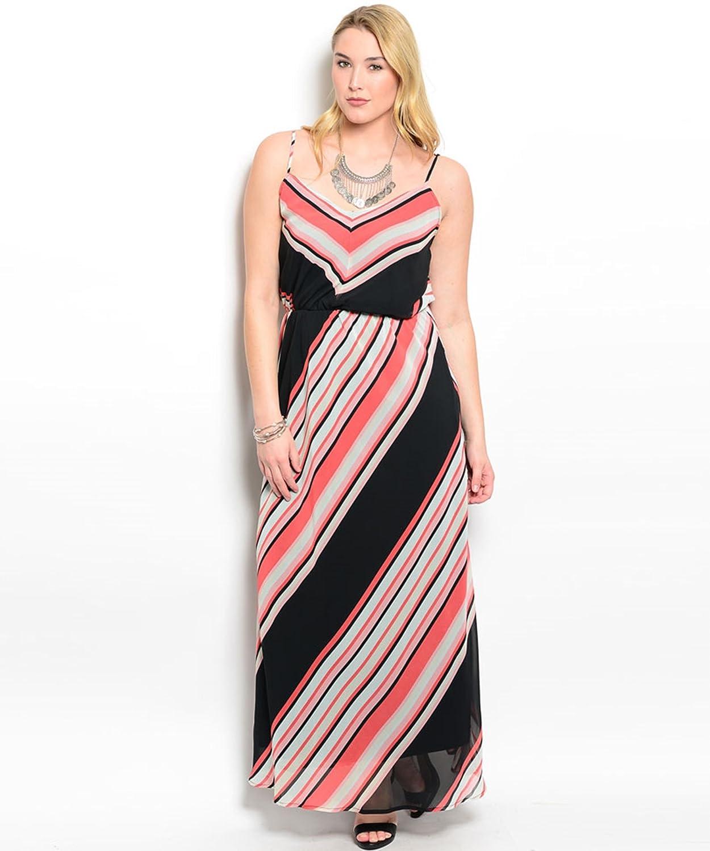 Trägerkleid / Freizeitkleid / Frühlingskleid / Sommerkleid bodenlang, tolles Muster, hohe Taille - schwarz / rot / rosa