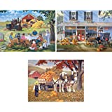 Bits and Pieces Set of Three (3) 300 Piece Jigsaw Puzzles for Adults - Classic American Country Scenes - 300 pc Jigsaws by Artist John Sloane