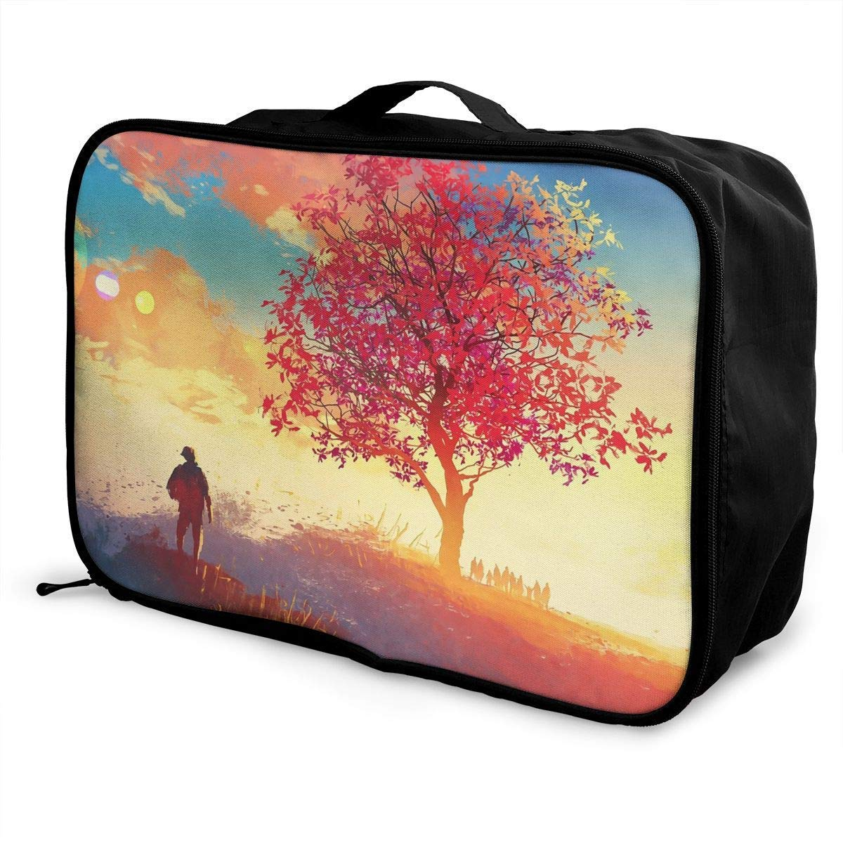 Portable Luggage Duffel Bag Autumn Sunrise Travel Bags Carry-on in Trolley Handle JTRVW Luggage Bags for Travel