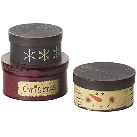 Paquete de 3 cajas redondas con motivo de muñeco de nieve (Talla Única/Multicolor