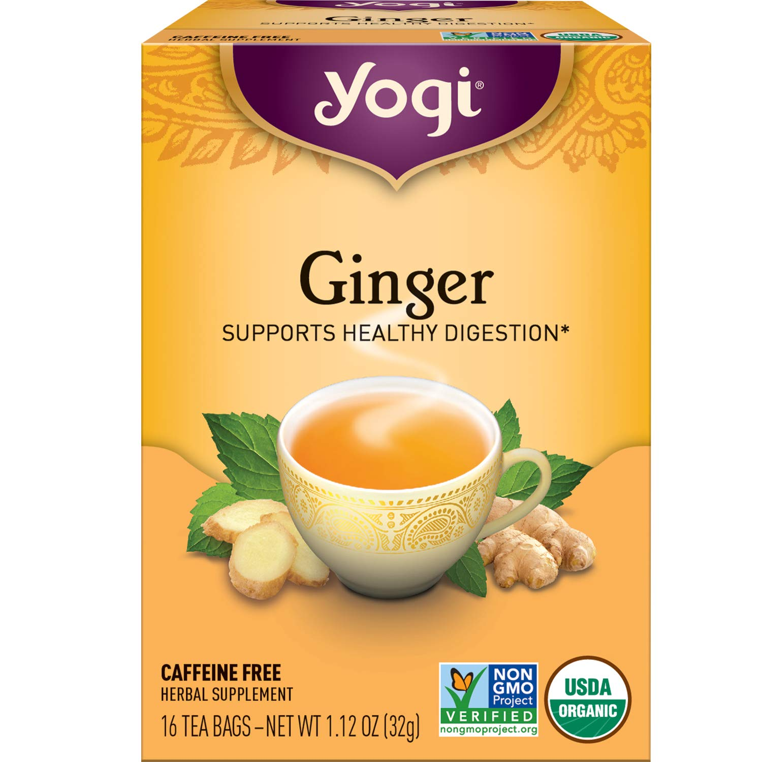 Yogi Tea - Ginger (6 Pack) - Supports Healthy Digestion - 96 Tea Bags Total