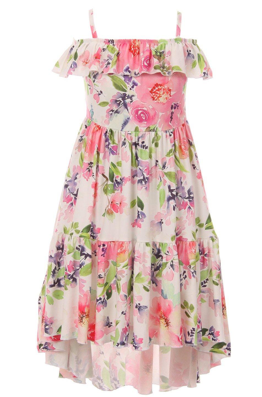 Big Girls' Lovely Off Shoulder Hi Lo Floral Birthday Party Flower Girl Dress Coral 7 XXL (P201531P)