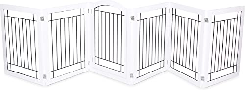 Internet s Best Indoor Dog Pen Playpen Gate Door – 6 Panel – 30 Inch Tall – Enclosure Kennel Pet Puppy Safety Fence – Durable Wooden Wire – Folding Z Shape Free Standing