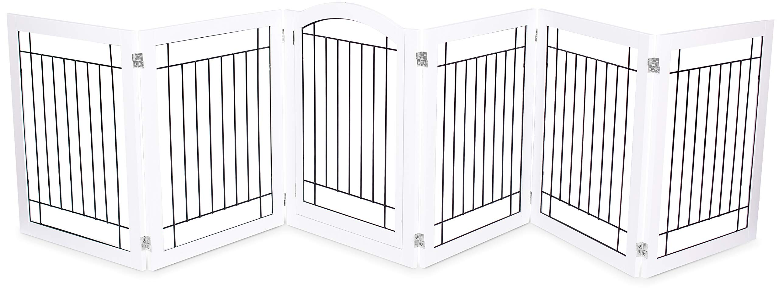 Internet's Best Indoor Dog Gate with Door   6 Panel   30 Inch Tall   Enclosure Kennel Pet Puppy Safety Fence Pen Playpen   Durable Wooden and Wire   Folding Z Shape Free Standing   White