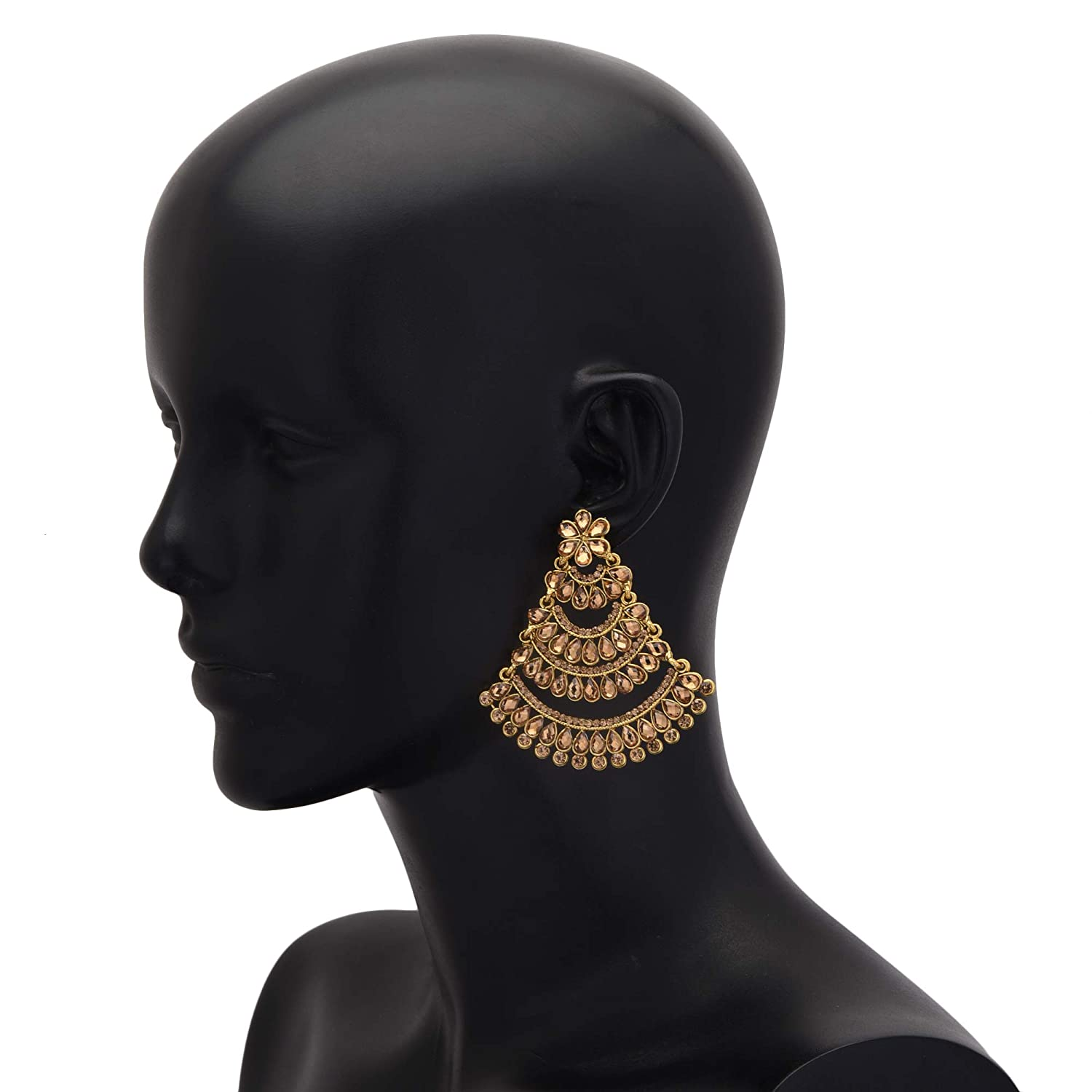 Jwellmart Gold Plated Brown CZ Stone Drop Dangle Chandbali Indian Polki Stone Partywear Earrings for Women and Girls