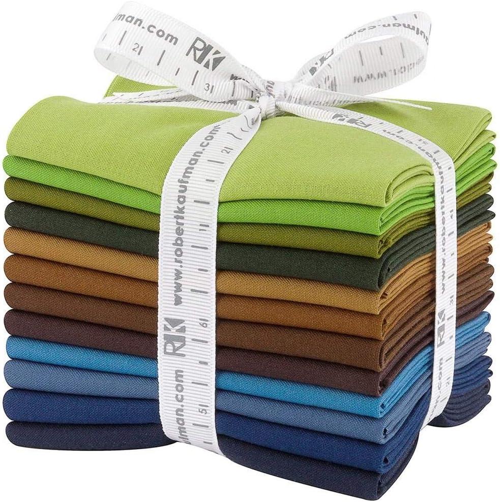 Robert Kaufman Kona Cotton Solids Adventure Fat Quarter Bundle 12 Precut Cotton Fabric Quilting FQs Assortment FQ-1380-12