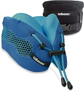 Cabeau Evolution Cool Neck Pillow for Gamers, Cooling Vents and 100% Memory Foam Support Pro Gaming, Lounging, Office and Travel, Backed by Science, Blue