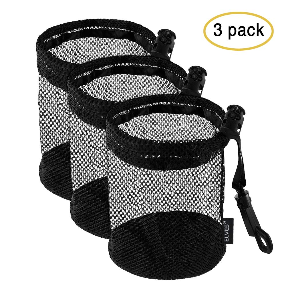 ELVES 3 PCS Golf Ball Bags with Sliding Drawstring Cord Lock Closure, Can Hold 12 Golf Balls,Black Mesh Bag for Golf Tennis Balls,Gym,Shower,Washing Toys,Diving by ELVES