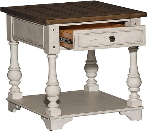 Liberty Furniture Industries Morgan Creek End Table, W24 x D26 x H24, White