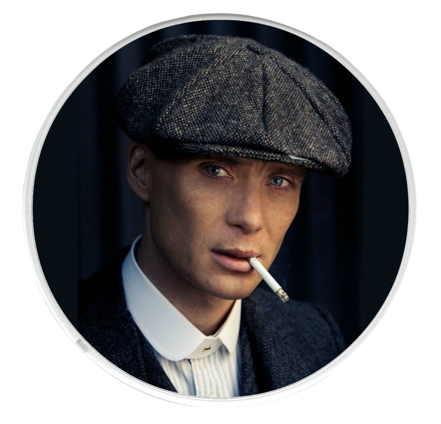 Mug Coaster with a picture of Tommy Shelby played by Cillian Murphy in the BBC series Peaky Blinders. Unique Round Drinks