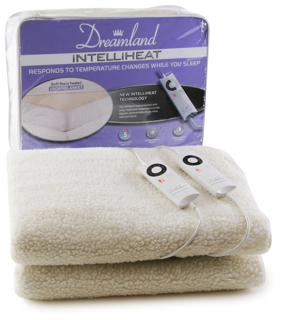 Dreamland Intelliheat Fast Heat Premium Soft Fleece Electric Underblanket, Natural, Double Size 150 x 120 cm, 1 Control, Easy Fit Elasticated Straps, Machine Washable, Extra Foot Warmth imetec UK Ltd 16296