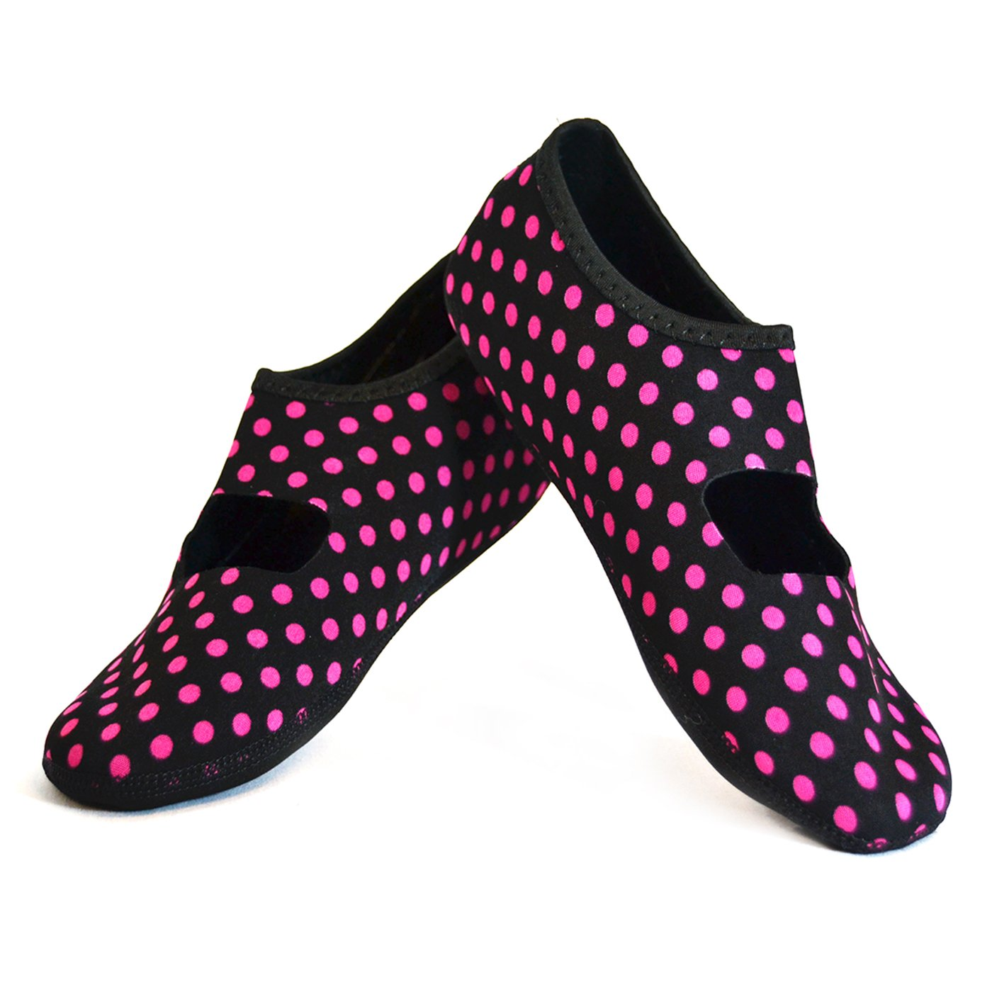 NuFoot Mary Janes Women's Shoes, Best Foldable, Flexible Flats, Slipper Socks, Travel Slippers, Exercise Shoes, Dance Shoes, Yoga Socks, House Shoes, Indoor Slippers, Black/Pink Polka Dot, Extra Large