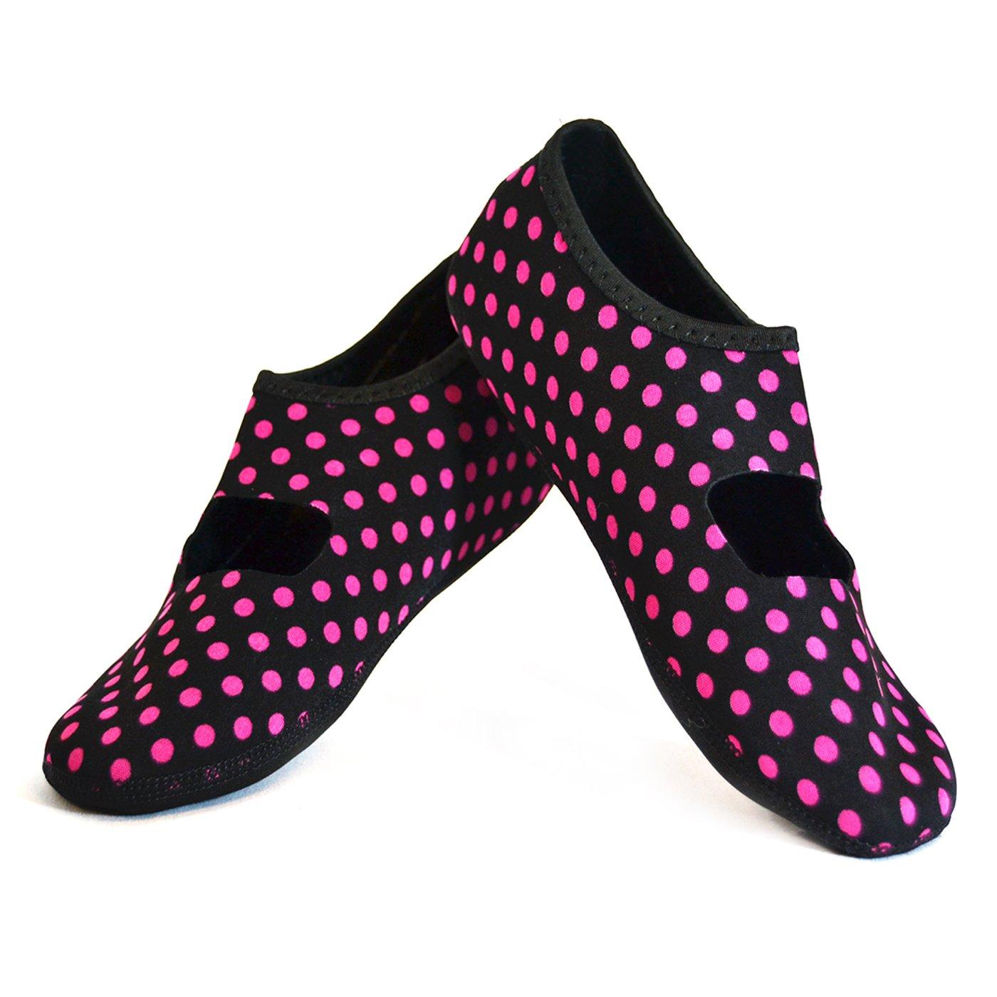 NuFoot Mary Janes Women's Shoes, Best Foldable & Flexible Flats, Slipper Socks, Travel Slippers & Exercise Shoes, Dance Shoes, Yoga Socks, House Shoes, Indoor Slippers, Black/Pink Polka Dots, Medium
