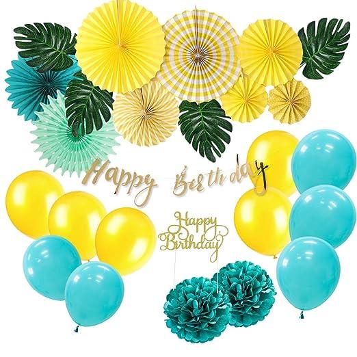 SUNBEAUTY Kit de decoración de cumpleaños tropical con ...