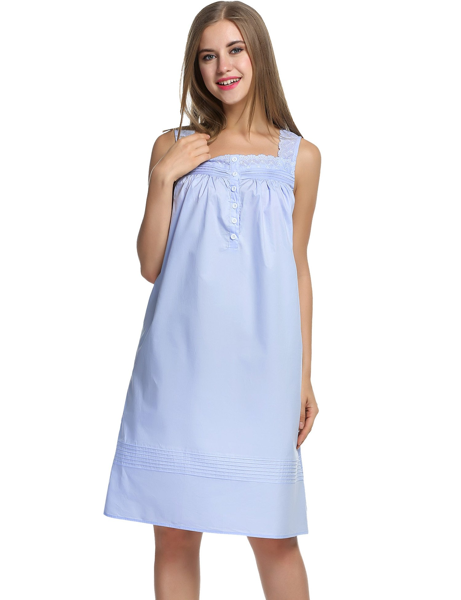 Hotouch Women's Plus-Size Sleep Shirt Lightweight Nightgowns Light Blue L by Hotouch (Image #2)