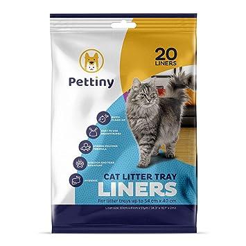 Pettiny 20 Bolsas Higiénicas para Bandejas de Gato Forros Resistentes con Asas para Areneros Medianos y Grandes