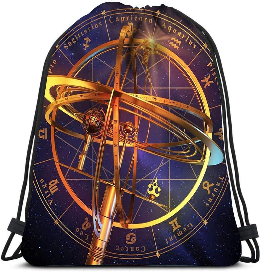 Drawstring Backpack Armillary Sphere With Zodiac Symbols Over Blue 3D Scene Laundry Bag Gym Yoga Bag