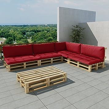 Festnight salon de jardin ensemble salon en palette de bois avec coussins  épais combine style